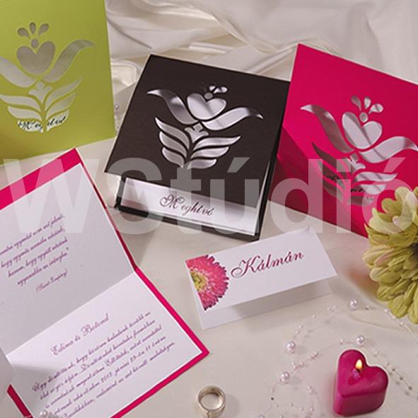 Magyaros esküvői meghívó népies mintával